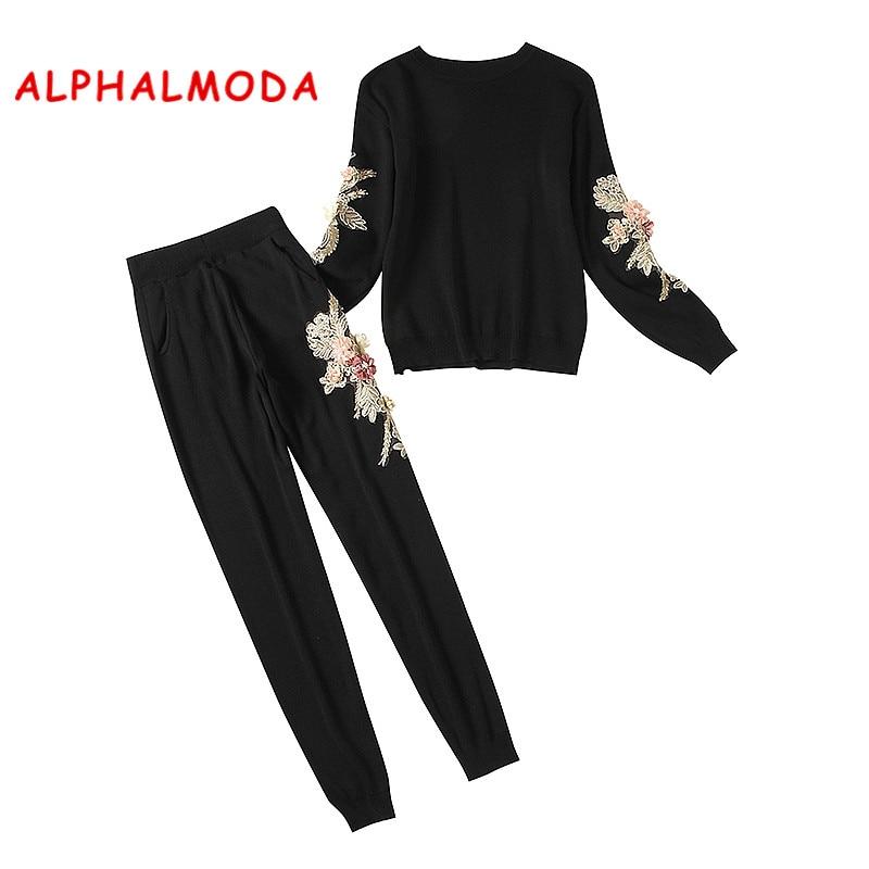 ALPHALMODA פרחי סריגה בגדי סטי נשים חורף 3D פרחוני מגשרי Slim מכנסיים חורף ווג אופנה אימוניות סטים
