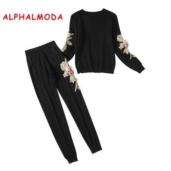 124294cfaf ALPHALMODA flores tejer conjuntos de ropa de invierno de las mujeres 3D  Floral Pantalones Slim de invierno de moda chándales conjuntos