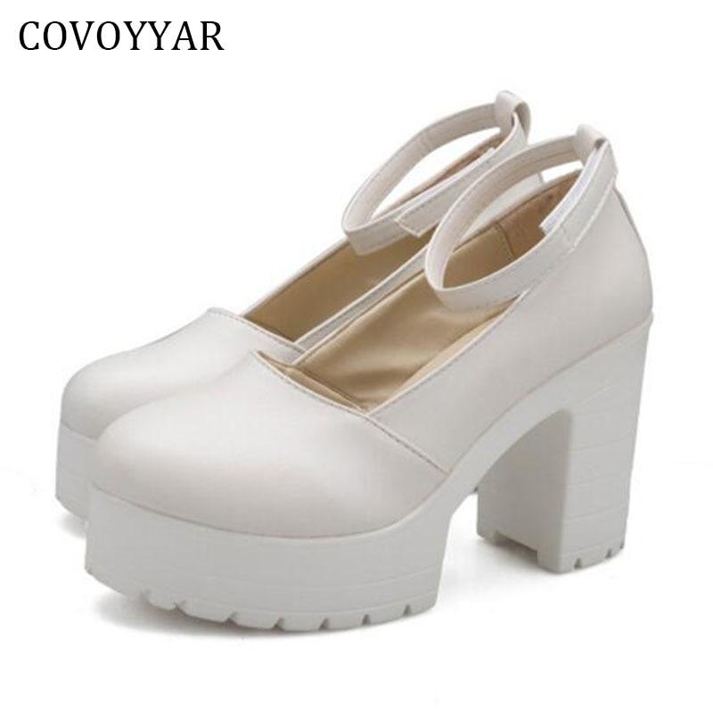 Fashion Platform Shoes Women Work Shoes Medium High Heels  2016 Thick Heel Ankle Warp Women Pumps Spring Black/White WHH524 kryte sandały na platformie
