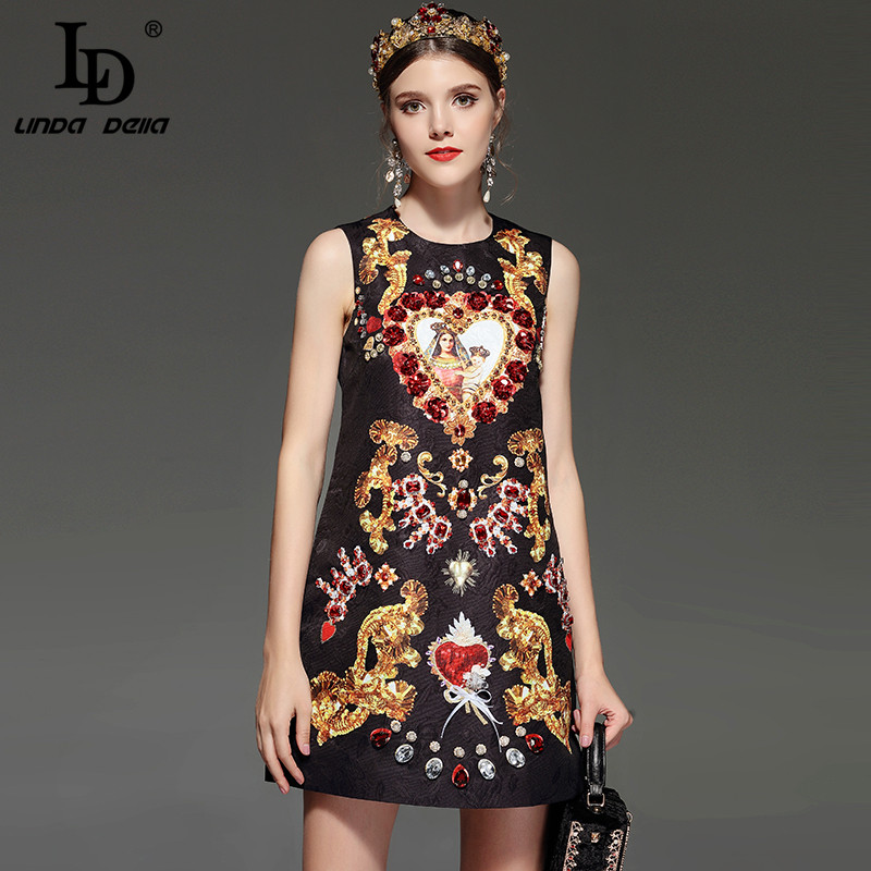 LD LINDA DELLA New Designer Runway Retro Summer Dress Women s Sleeveless Luxury Crystal Beading Sequin