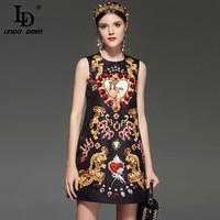LD LINDA DELLA New 2018 Designer Runway Retro Summer Dress Women's Sleeveless Luxury Crystal Beading Sequin Vintage Dress