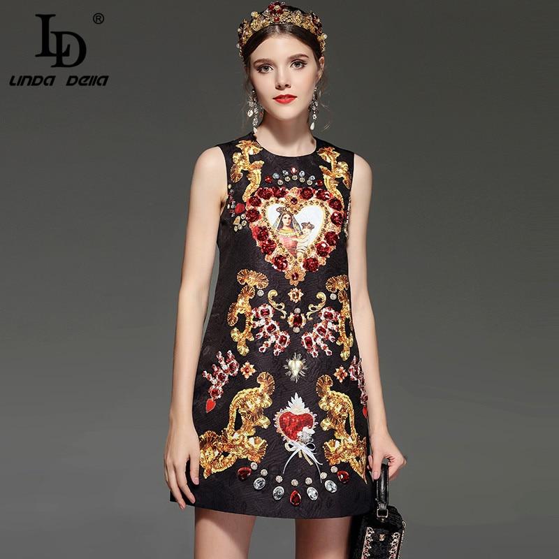 LD LINDA DELLA New Designer Runway Retro Summer Dress Women's Sleeveless Luxury Crystal Beading Sequin Vintage Dress
