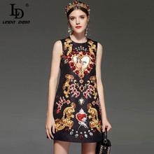 LD LINDA DELLA New Designer Runway Retro Summer Dress Womens Sleeveless Luxury Crystal Beading Sequin Vintage