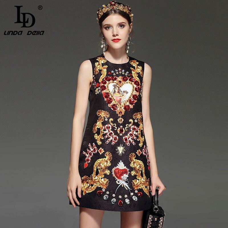 LD LINDA DELLA nouveau Designer piste rétro robe d'été femmes sans manches de luxe cristal perles Sequin robe Vintage