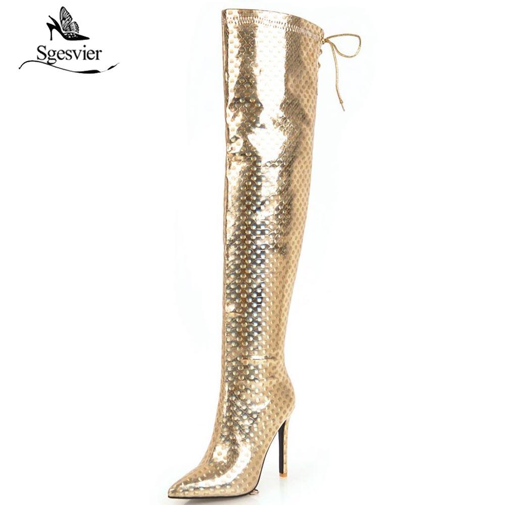Γυναικεία παπούτσια Sgesvier autumn winter glitter sequined cloth pointed  toe over the knee boots silver gold women s shoes zipper long boots OX956 d3f04460ec36