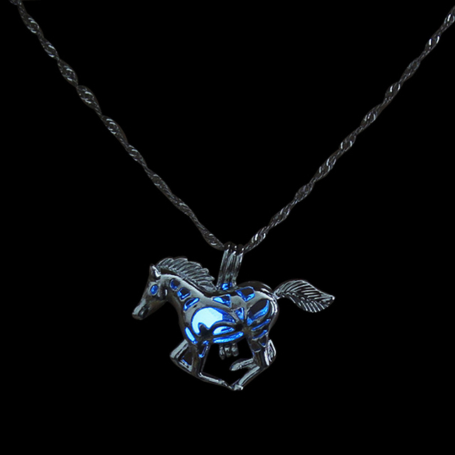Silver color luminous horse necklace fashion glow in the dark silver color luminous horse necklace fashion glow in the dark jewelry animal pendant necklace for women mozeypictures Gallery