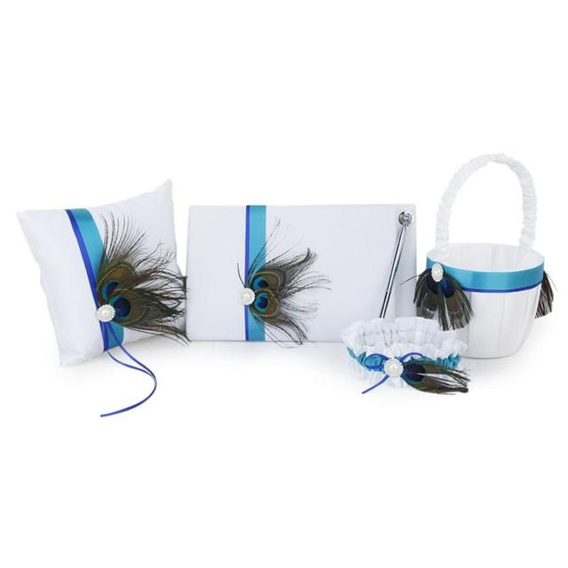 Delicate Peacock Feather Decor Wedding Guest Book+Pen+Ring Pillow+Flower Basket+Garter Set for Wedding Ceremony Party