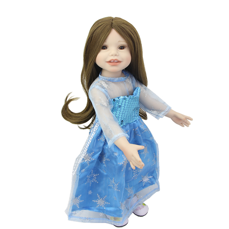 Best Choice For Kids Birthday Xmas Gift 18 Inch American Girl Full Vinyl Bodied Realistic Princess Doll With Blue Gauze Dress lifelike blue eyes 18 inch girl american doll full vinyl princess dolls with blue nursing clothing set children birthday gift