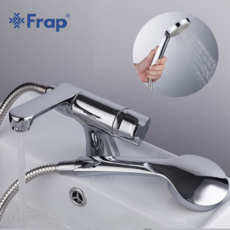 Frap 2018 new bathroom Basin Faucet with Hand Shower Cold and Hot Water Mixer bathtub faucets 75 Degree Switch F1252/68 men s korean version flaming sports car printing pattern short sleeve t shirt grey size xl