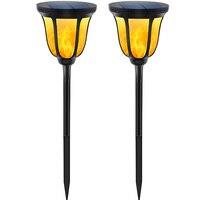2 Pcs Garden Lights Outdoor Waterproof Flickering Flames Torches Lights Outdoor Landscape 96 LEDs Ground Solar Lamp