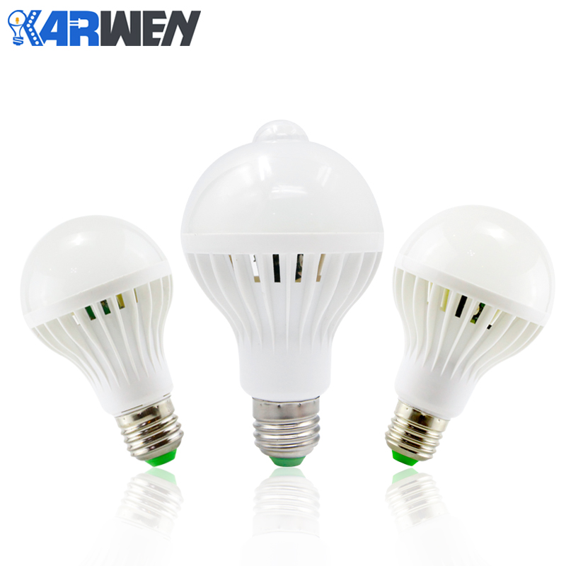 KARWEN LED lamp PIR Infrared Motion/Sound+Light Sensor Control E27 3w 5w 7w 9w 12w automatic Smart White