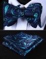 BP709QS Aqua Púrpura Paisley 100% Seda Jacquard Tejida Hombres Auto Pajarita BowTie Pocket Square Pañuelo Pañuelo Set Suit