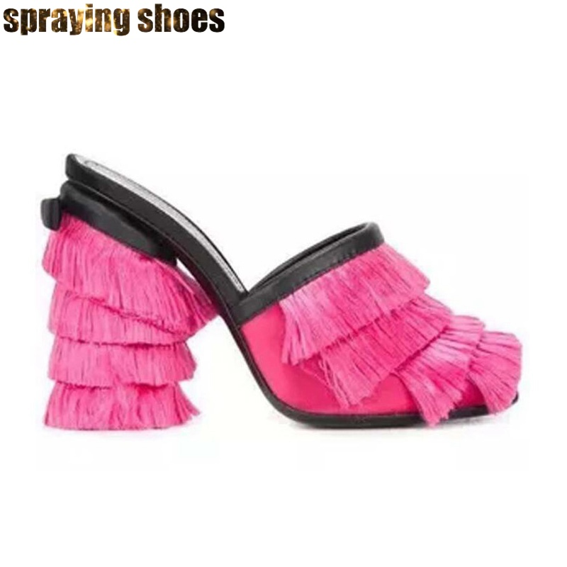 Na moda borla chunky salto alto sandálias femininas verão chinelos azul/rosa cetim praça bombas peep toe senhoras vestido de festa sapatos novo - 4