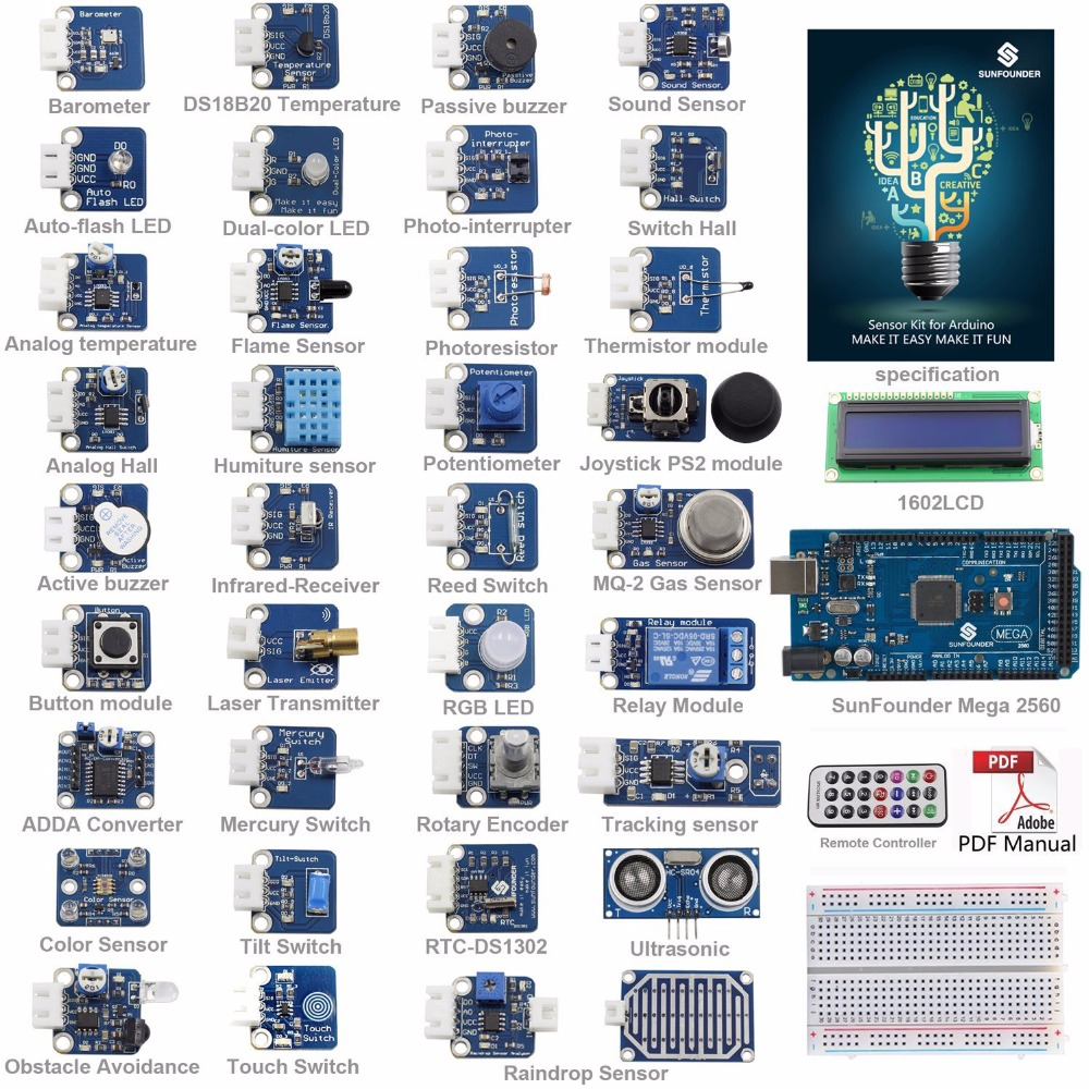 SunFounder Ultime Mega 2560 Capteur Kit V2.0 pour Arduino UNO R3 Mega2560 Mega328 Nano
