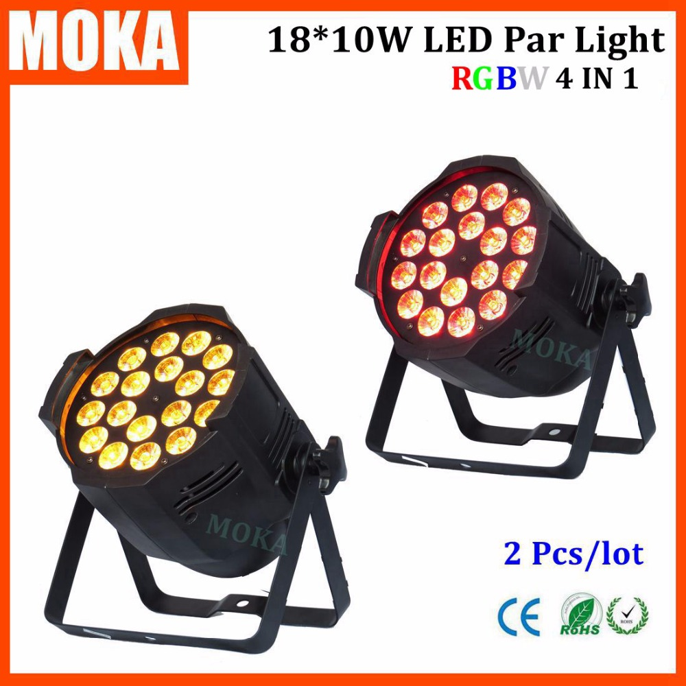 2Pcs Par led RGBW 4 in1 led par 18*10W DMX LED Par Cans 64 LED Wash Lights strobe par light For Disco Club dj Party