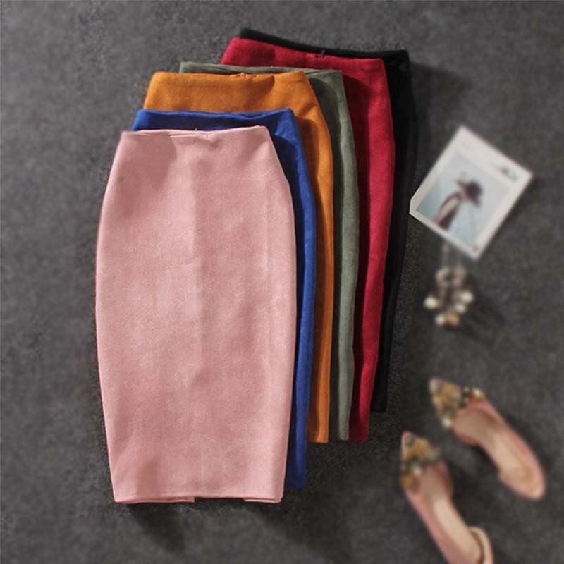 Women Skirts High Waist Elastic Skinny Bodycon Skirt Vintage Suede Split Pencil Skirts 2020 Casual Solid Midi Skirts For Women