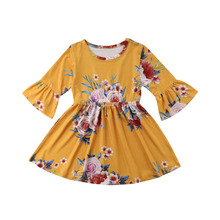 Girls Dress 2019 Spring Kids Dresses for Girls Children Clothes Floral Long Sleeve Baby Casual Princess Dress 1 2 3 4 5 Years недорго, оригинальная цена