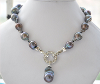 Rare 17 20mm black baroque keshi Reborn necklace pendant