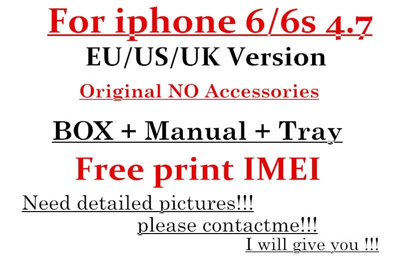 imágenes para 5 unids/lote Alta Calidad EE. UU./EU/UK Version Teléfono Embalaje Caja de Embalaje Para el iphone 6 6 S 4.7 ''Sin Caja de Accesorios