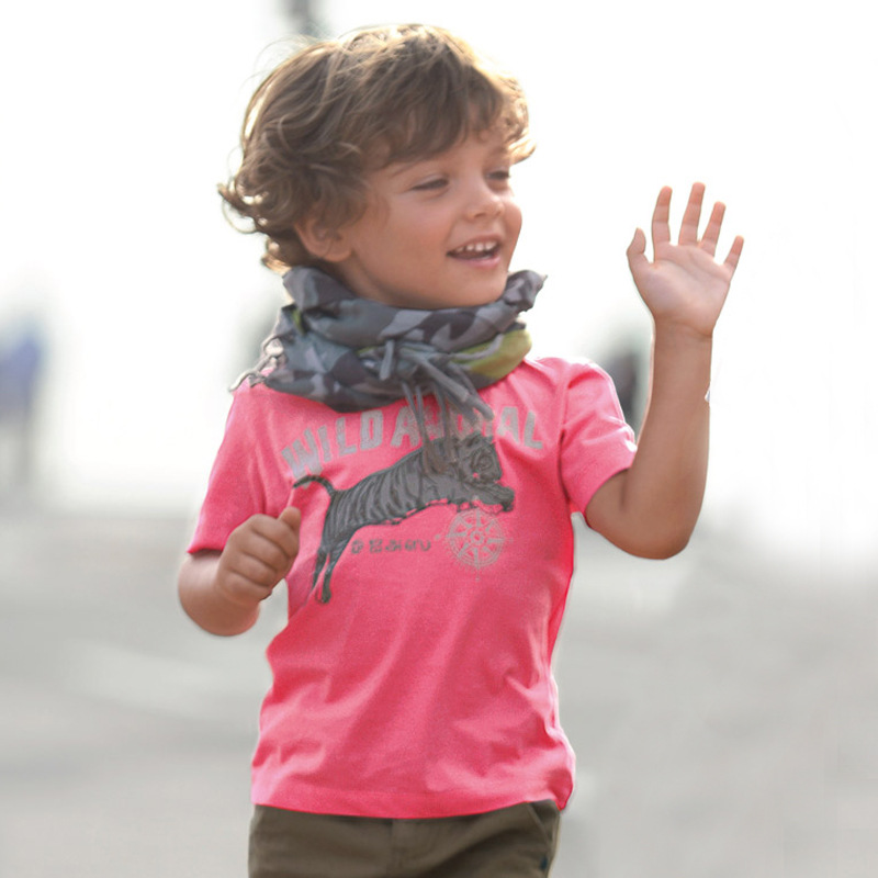 Tiger Boys T-Shirts Hot pink Children Tee Shirts Animal Kids clothes Fashion Tops 1-6 years