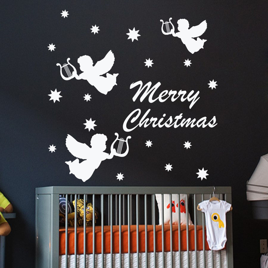Merry Christmas Quotes With Three Litte Angels Wall Sticker Vinyl Decals For Kids Bedroom Art Decoration Y 744 In Stickers From Home Garden On