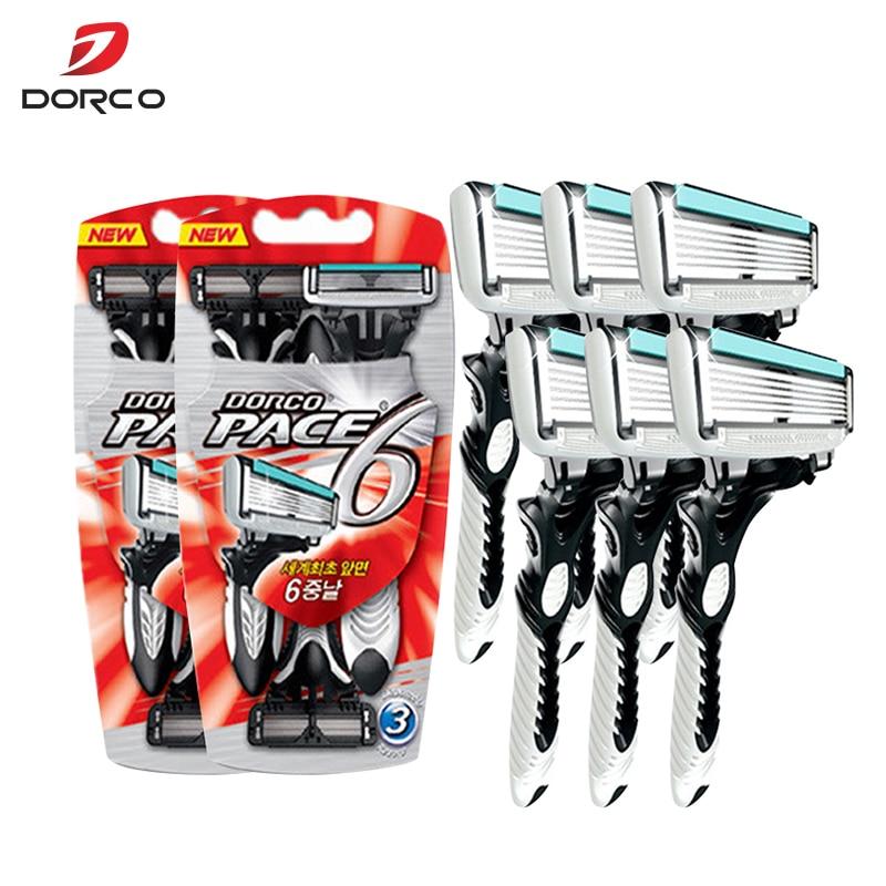 6 Pcs/lot 6-Layer Blades Original Dorco Razor For Men High Quality Razor Men Shaving Stainless Steel Safety Razor Blades