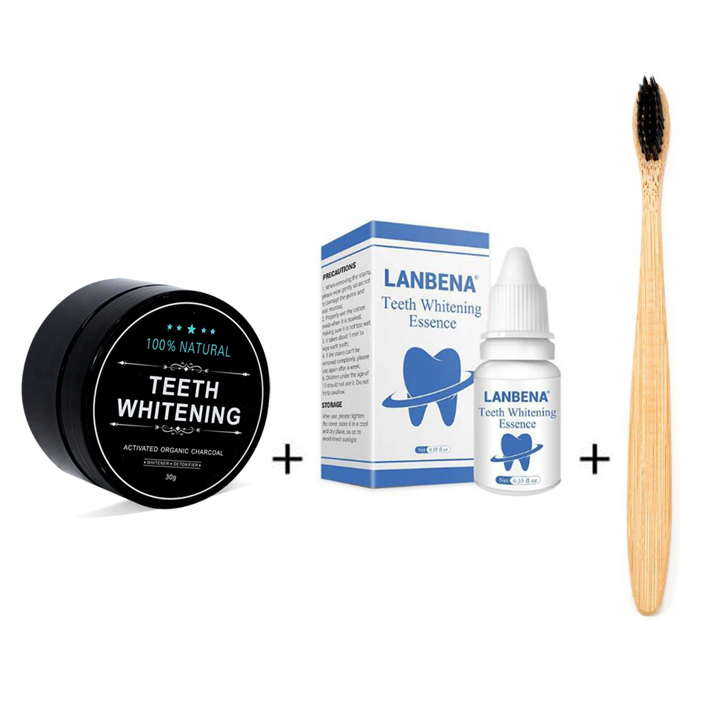 Natural Teeth Whitening Teeth Set 1 Oz Bamboo Charcoal Powder 0.35oz Tooth Whitening Essence With Toothbrush For Oral Hygiene