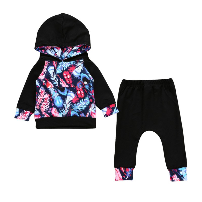 2PCS Baby Boys Girls Casual Clothing Set Coat Feather Printed Long Sleeve Hooded Shirts Tops + Pants Infant Clothes