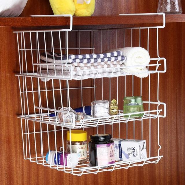 Refrigerator Storage Basket Kitchen Multifunctional Rack Under Cabinet Shelf Wire Organizer