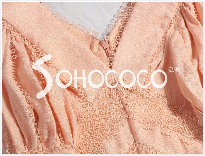 Baumwolle Kleid Stickerei end Sommer Vintage Rosa V 2019 Frauen Und Elegante Dünnes runway High ausschnitt line weiß A Desinger Spitze Leinen awX77
