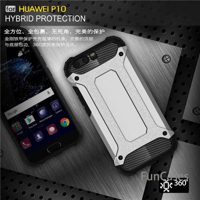 For Huawei P8 P8 LITE 2017 P9 case Armor Anti-Shock Silicone Rubber Hard PC Phone Cover For P10 P10 LITE P10 plus honor 8 lite(China)
