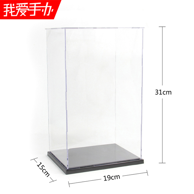 Hand-done grey acrylic transparent anime toys doll model display box