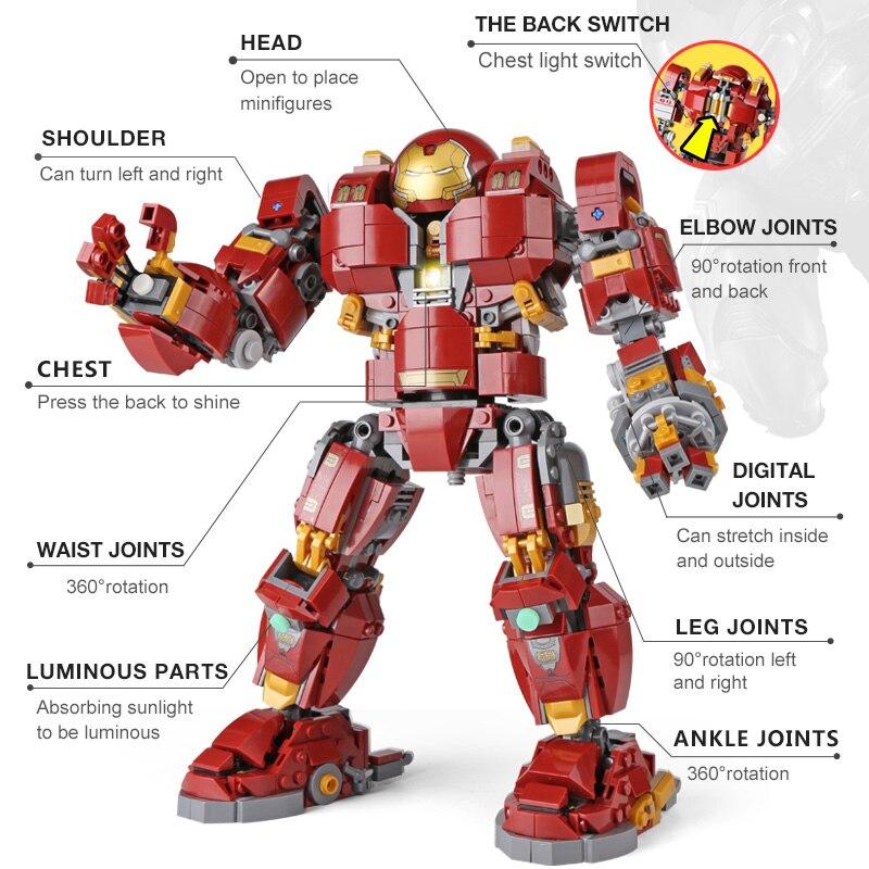 DHL 07101 Super Hero Toys Series The 76105 Iron Man Anti Hulk Mech Set Assembly Kids