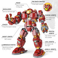DHL 07101 Super Hero Toys Series The 76105 Iron Man Anti Hulk Mech Set Assembly Kids Toys Building Bricks Blocks Model Gifts