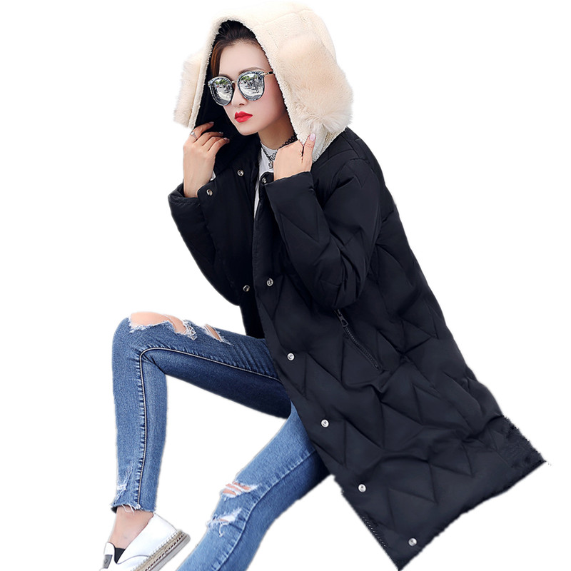 Winter Cute Large Size Cotton Hooded Coat Warm Thick Parka Women High Quality Lady Parkas Loose Padded Overcoat Jaquetas TT3134 new mens warm long coats lady cotton warm jacket padded coat hooded parkas coat winter top quality overcoat green black size 3xl