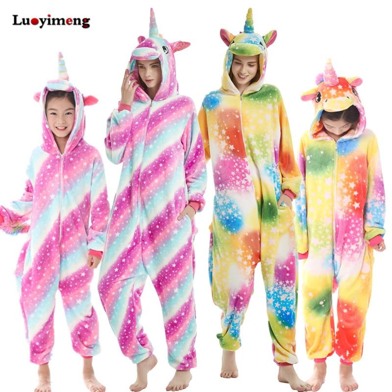 b3a0c49c39 Nuevo Bebé Arco Iris unicornio mono Kigurumi Pijamas de invierno de dibujos  animados de animales niño niña Pijamas niños Cosplay Conjunto de pijama de  las ...