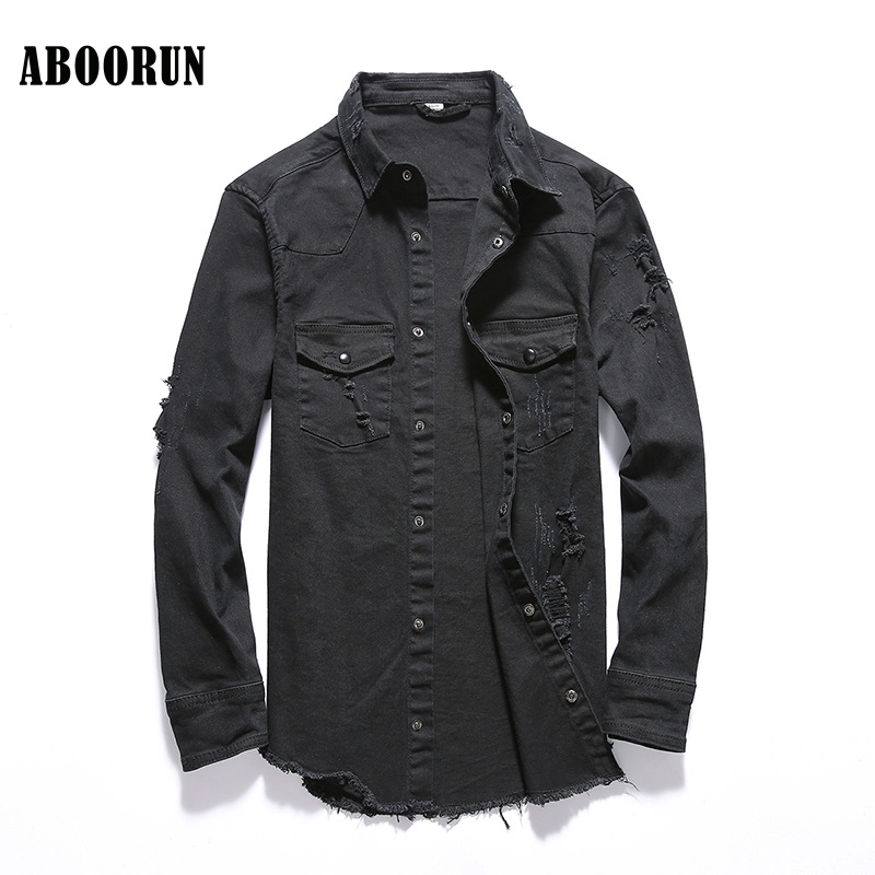 2018 Fashion Mens Spring Denim Jackets Black Ripped Tassels Slim fit Jeans Jackets Cotton Coat for Male YC1119