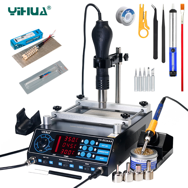 YIHUA 853AAA Soldering Station BGA Rework Stations 3 In 1 Preheating Hot Air Gun Soldering Iron Welding PCB Desoldering Tool Set