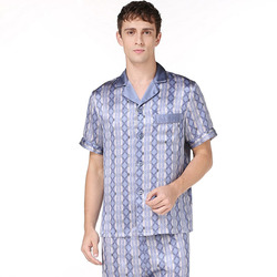 Fashion plaid 100% genuine silk pyjama sets mens short sleeves pajamas homewear for male silk pijama hombre verano Summer