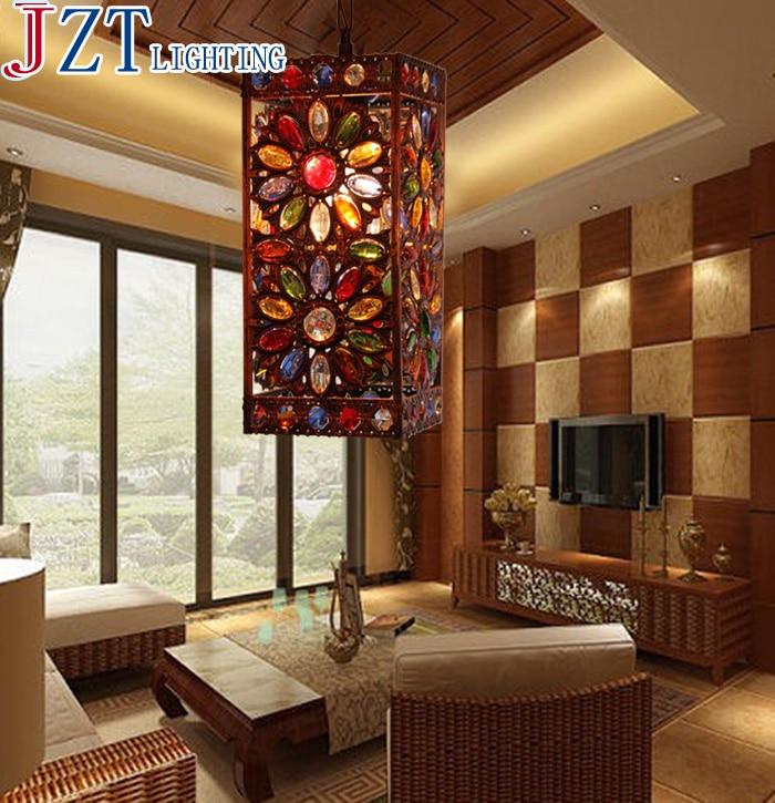 M Southeast Asia Style Pendant Light Led E14 Retro Iron Crystal Lamp 3models Design Pure Hand-Made Elegant Shape For Living Room