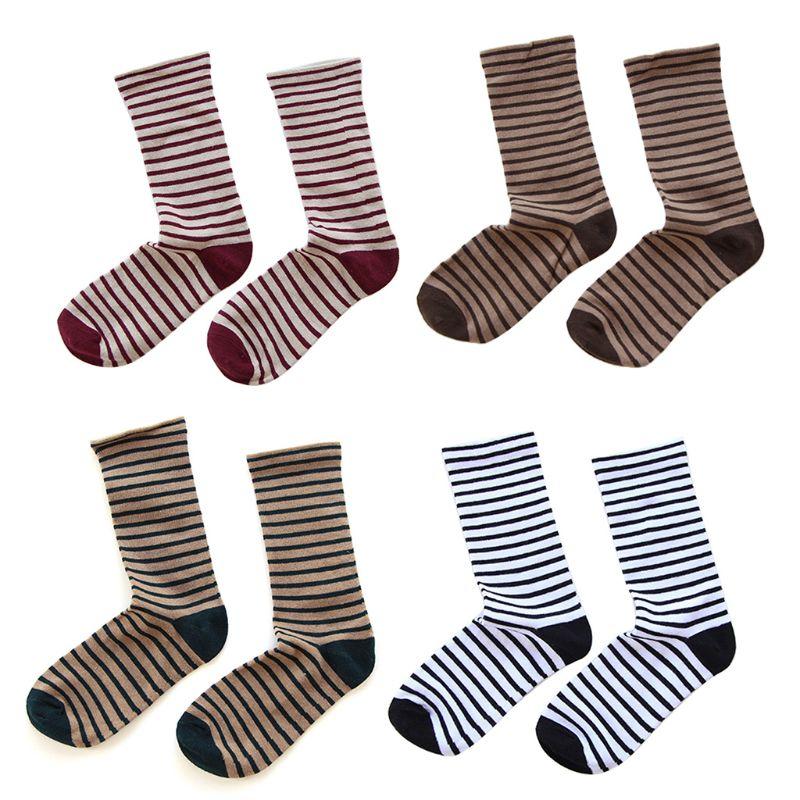 3 Pairs Frauen Mädchen Frühling Elastische Lange Crew Socken Harajuku Vintage Kreuz Streifen Digitale Druck Baumwolle Breathcable Rohr Hosie Eine Hohe Bewunderung Gewinnen