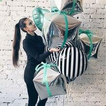 24 นิ้ว 3D เพชร Cube ฟอยล์บอลลูน Birtday พรรค Droopback ฟอยล์ฮีเลียมบอลลูนสแควร์งานแต่งงานตกแต่ง PARTY Supplies