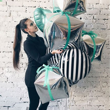 24inch 3D Diamond Cube Foil Balloons Birtday Party Droopback Helium Foil Square Balloon Wedding Decorations Party Supplies