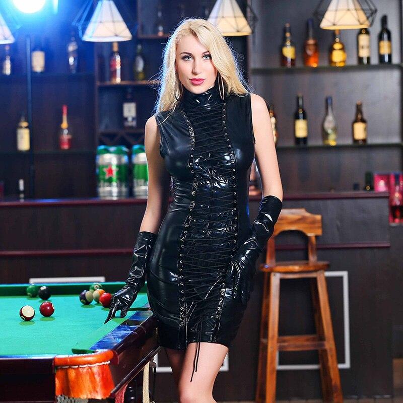 Gothic Nightclub Faux Leather Bodycon Dress Strappy Ribbon Short Robe Sexy Turtleneck Sleeveless Vinyl Dress Pole Dance Clubwear