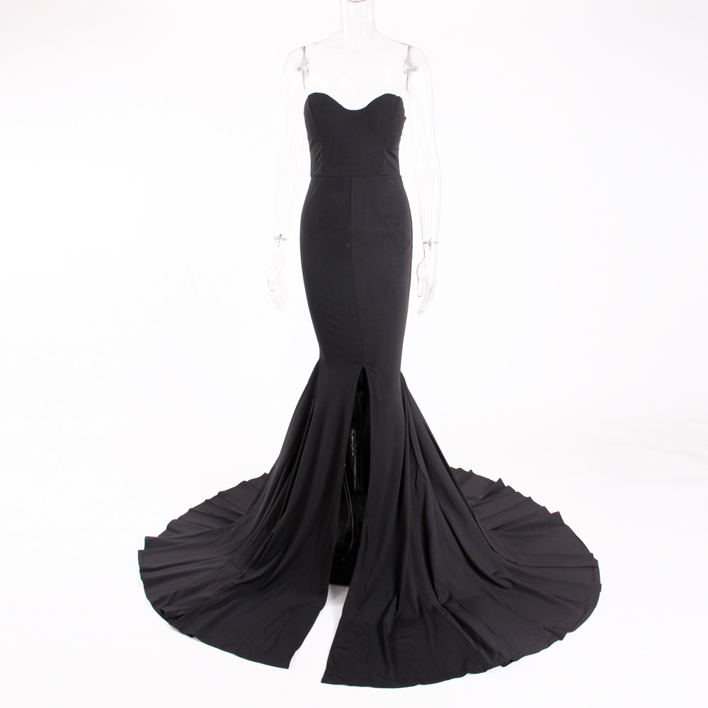 HTB1CRV XInrK1RkHFrdq6xCoFXag - Sexy Strapless Long Black Maxi Dress Front Slit bare shoulder Red Women's evening summer dress Night Gown Party Dress