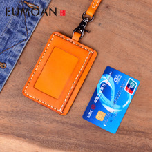 EUMOAN Handmade Vegetable tanned leather CARD wallet original cowhide card sets retro simple lanyard bus bank access