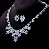 Hot Sale AAA CZ flowers shape Necklaces & Pendants Earrings Sets WHITE GOLD Color Wedding Jewelry for Women GLN0097 5839