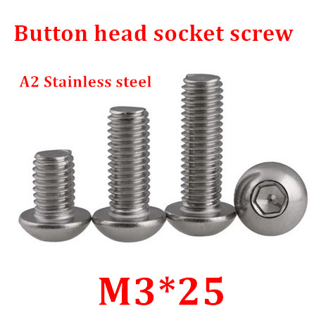 100pcs/lot M3*25 Bolt A2-70 ISO7380 Button Head Socket Screw/Bolt SUS304 Stainless Steel <font><b>M3X25mm</b></font> image