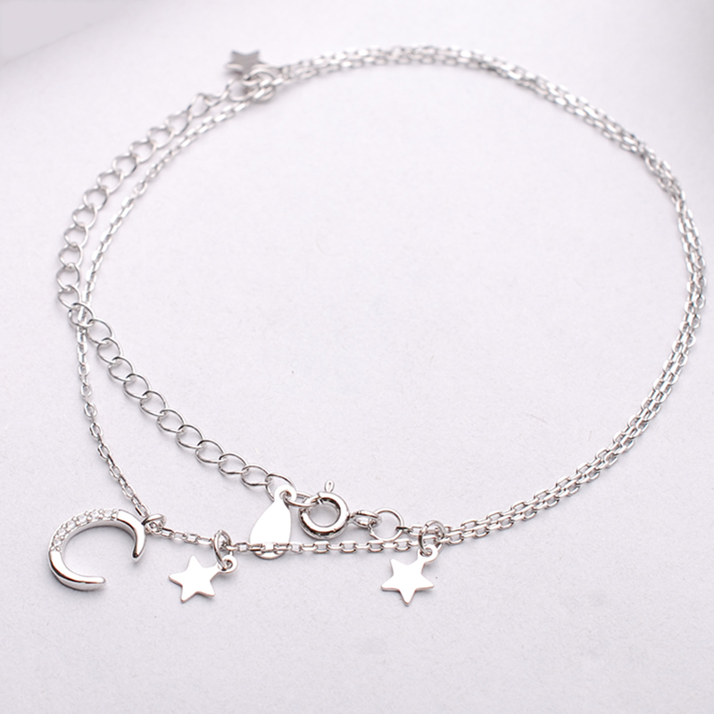 925 pure silver necklaces, white gold, white gold moon, star, beautiful girl warrior set with artificial drill clavicle chain