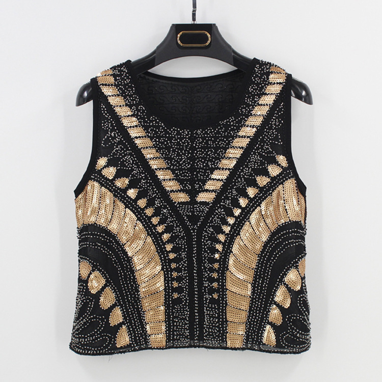 Korean Tumblr Kpop 2018 Spring And Summer New Europe America Heavy Industry Beaded Sequins Vest Round Neck Pullover T shirt
